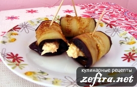 Рецепт пикантной закуски – рулетики из баклажанов с сырно-ореховой начинкой
