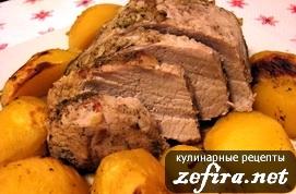 Свинина с картофелем, приготовленные в рукаве для запекания