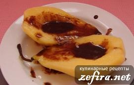 Рецепт груш в карамели с шоколадной начинкой