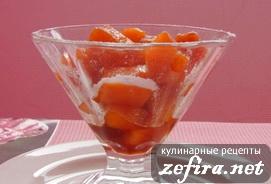 Десерт из тыквы в карамели с коньяком