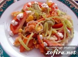 Рецепт простого салата с макаронами, овощами и крабовыми палочками