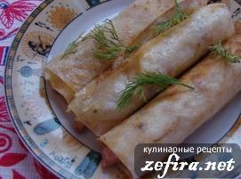 Закуска из лаваша с ветчиной и сыром