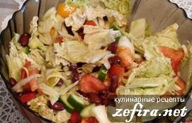 """Легкий салат из свежих овощей с фасолью """" На диету!"""""""