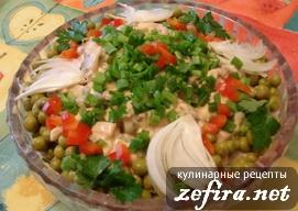 Салат «Оригинальный» с селедкой и зеленым горошком