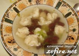 Постный фасолевый суп с клецками (галушками)