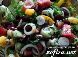 Простенький овощной салат с фасолью