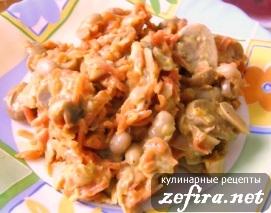 Салат овощной с шампиньонами и фасолью «Аппетитка»