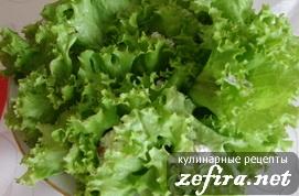 Закуска из творога на листьях салата