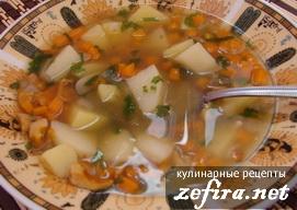 Легкий овощной суп с лисичками