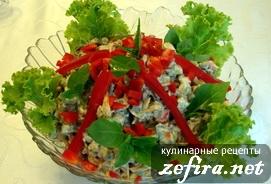 """Салат """"Хрущевский"""" с печенью и грибами"""