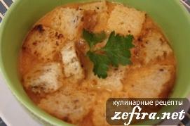 Рецепт постного супа из помидоров с гренками