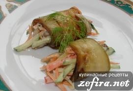 """Рулетики из баклажан с овощами """"Пикантные"""""""