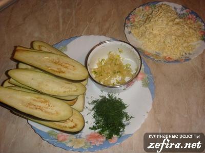 Рецепт закуски Рулетики из баклажанов - подготовка продуктов