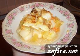 """Рецепт: Рыба на овощной """"подушке"""""""