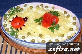 "Салат ""Полянка"" с курицей, вешенками и ананасами"
