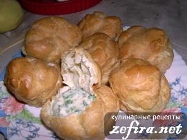 Рецепт оригинальной закуски - Заварные булочки с курицей в соусе