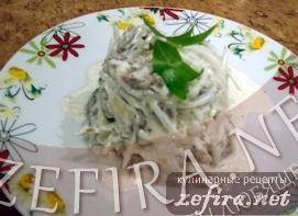 Салат с маргеланской (зеленой) редькой или дайконом с говядиной