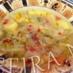 Легкий овощной суп с кукурузой