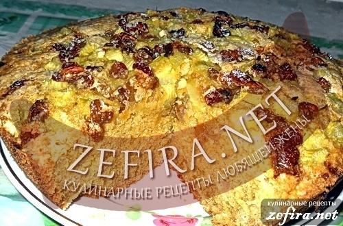 Пирог с ревенем и изюмом