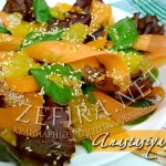 Салат «Солнечный день» со шпинатом, морковью и оливково-апельсиновой заправкой