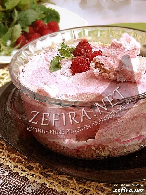 Рецепт необычного десерта - Белковое суфле с малиной