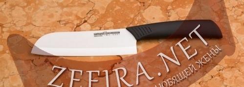 Кухонный нож Сантоку 125 мм. из белой циркониевой керамики Eco-Ceramic SC-0091