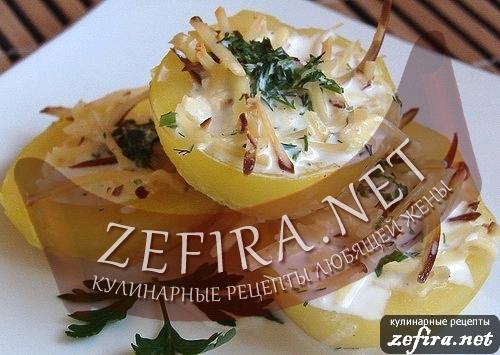 Картофельные лодочки с сыром и сливочным соусом