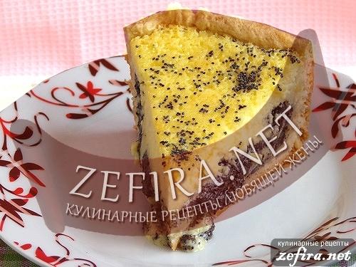 Рецепт вкусного пирога с маковой начинкой и сметанным суфле