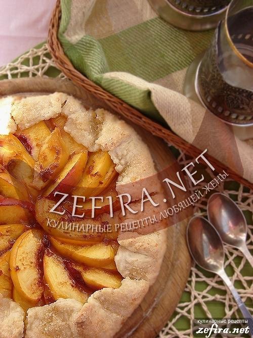 Рецепт пирога с персиками из творожного теста
