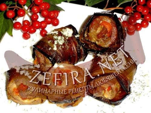 Свинина с баклажанами, брынзой и помидорами