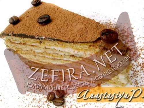 """Торт """"Кофейный аромат"""" с заварным кремом из белого шоколада"""