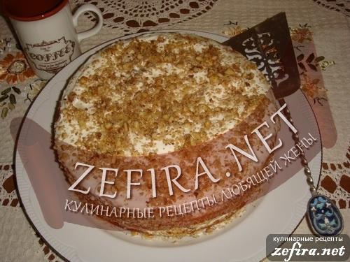 """Торт """"Медовик"""" с зефиром"""