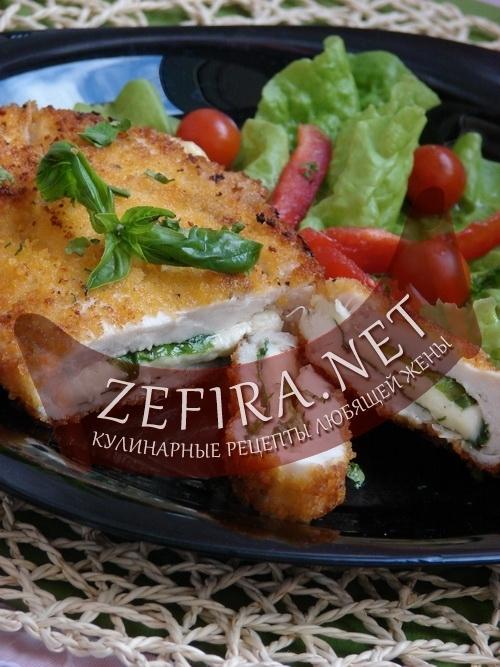 Куриное филе с начинкой из шпината и брынзы