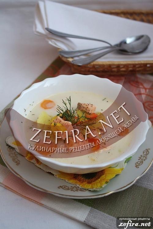 Рецепт сырного супа с красной рыбой