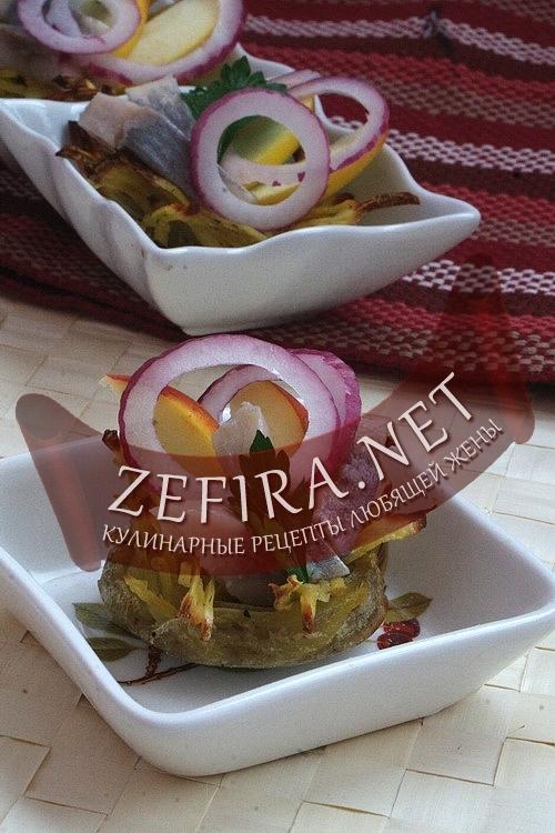 Корзинки из картофеля с селедкой