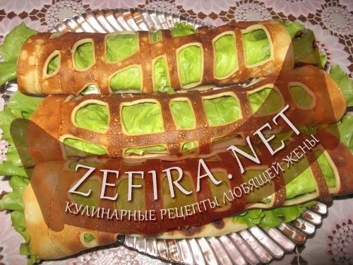 """Блинчики """"Ажур"""" с начинкой из свежей зелени и мягкого сыра с чесноком"""