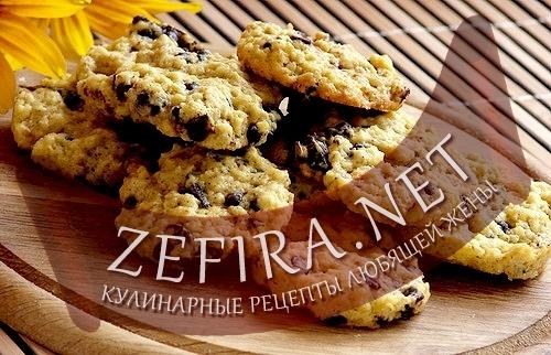 Хрустящее печенье с шоколадом и овсяными хлопьями