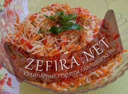 Рецепт салатов с рисовой лапшой фото