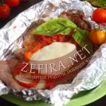 Свинина запеченная в фольге с томатным соусом и моцареллой