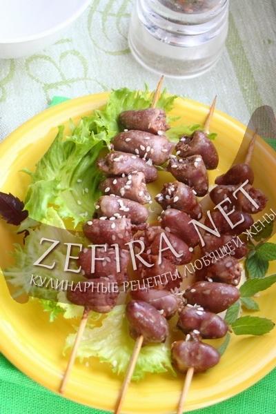 Шашлычки из куриных сердечек (фото)