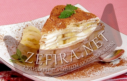 Блинный торт с бананом (фото)
