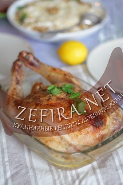 Курица фаршированная грушей (фото)