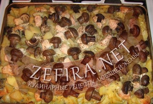 Картошка с курицей и грибами под домашним майонезом