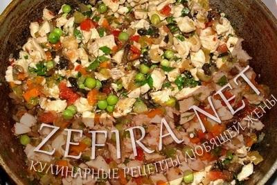 Начинка: овощи с куриным филе и шампиньонами
