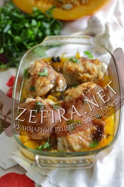 Курица запеченая с тыквой (фото)