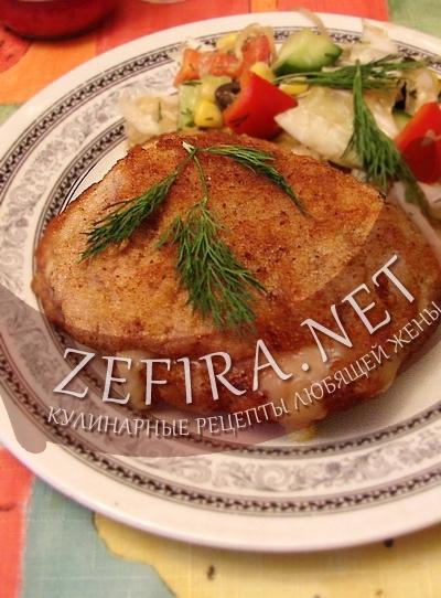 Рецепт свиной отбивной с сыром