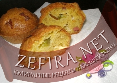 Маффины с сыром, колбасой (фото)