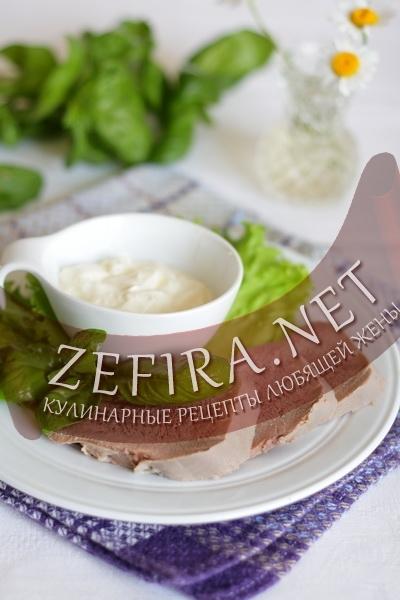 Язык со сливочным соусом из хрена (фото)