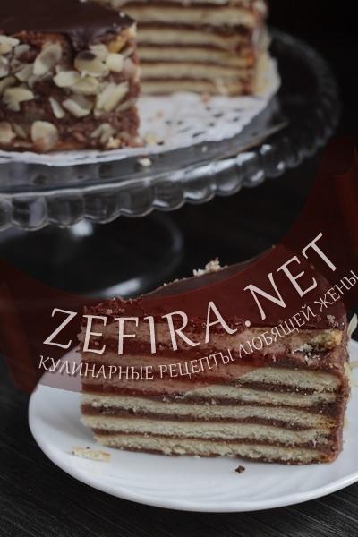 Торт с песочными коржами и шоколадным кремом