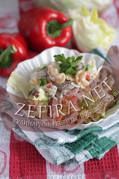 Салат с макаронами и языком